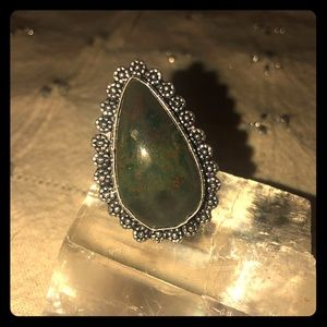 Sterling Silver bloodstone ring